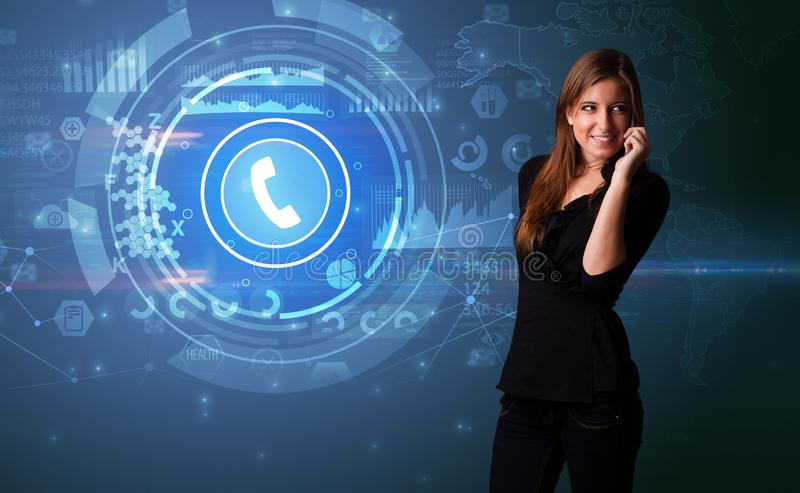 Person talking on the phone with calling concept stock images