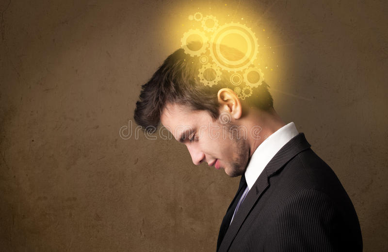Young person thinking with a machine head illustration. Young person thinking with a glowing machine head illustration royalty free stock image