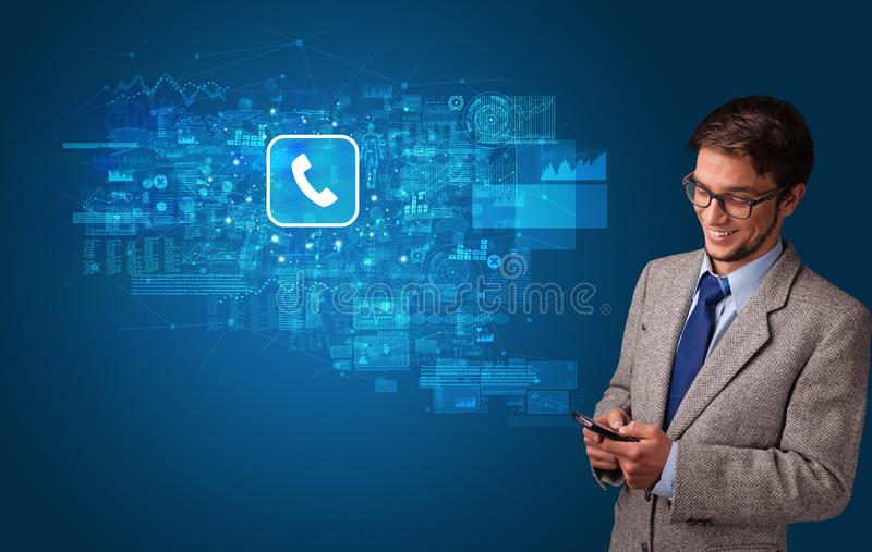 Person using phone with mail concept royalty free stock images