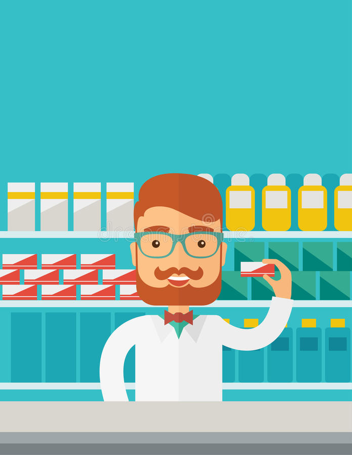 Young pharmacy chemist man standing in drugstore stock illustration