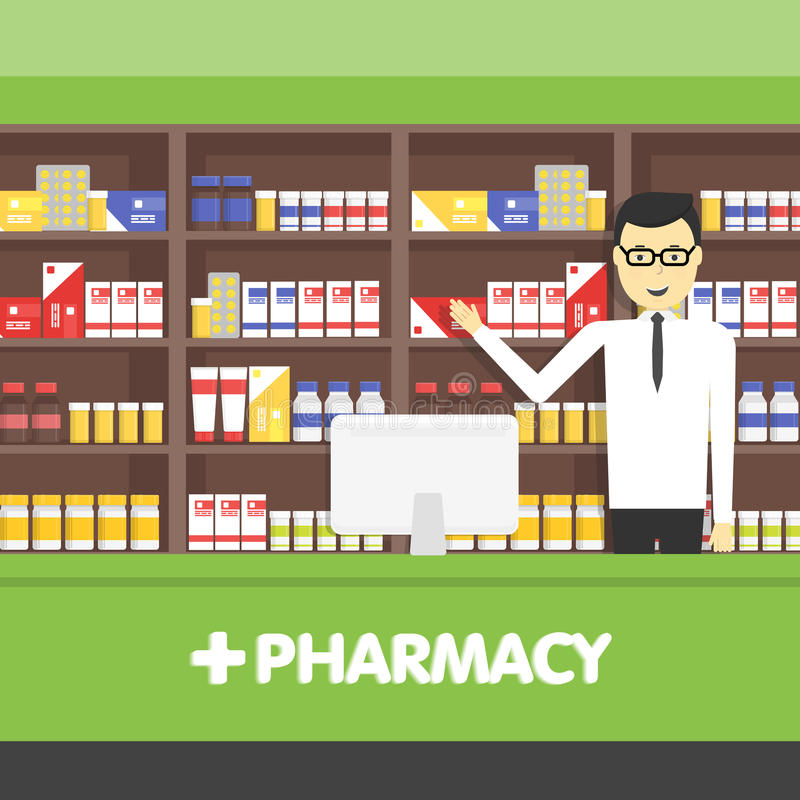 Young pharmacy chemist man standing in drugstore. Vector flat illustrations. royalty free illustration