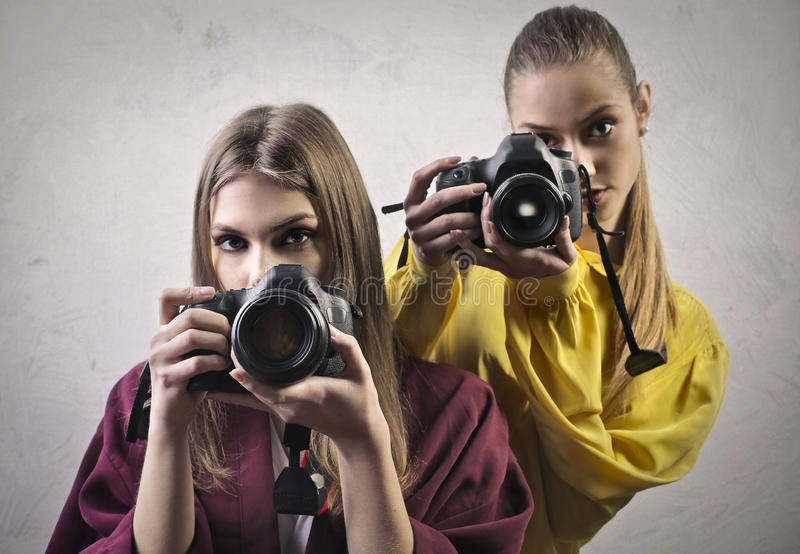Young photographers royalty free stock photography