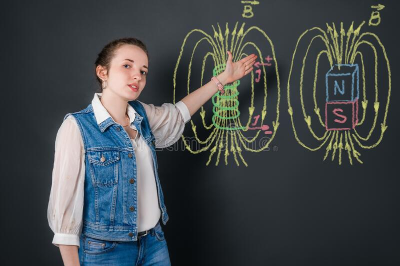 Young physics woman teacher talks about magnetic fields, explaining the topic from color pictures with chalk on blackboard royalty free stock image