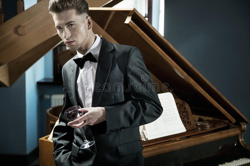 Download Young pianist stock image. Image of glass, palm, dark - 24836683