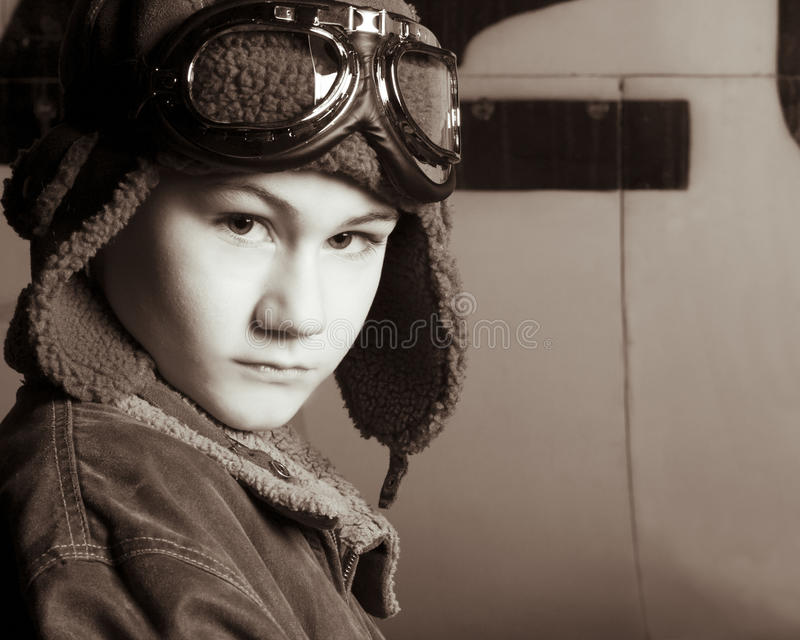 Young Pilot With Flight Goggles Royalty Free Stock Image