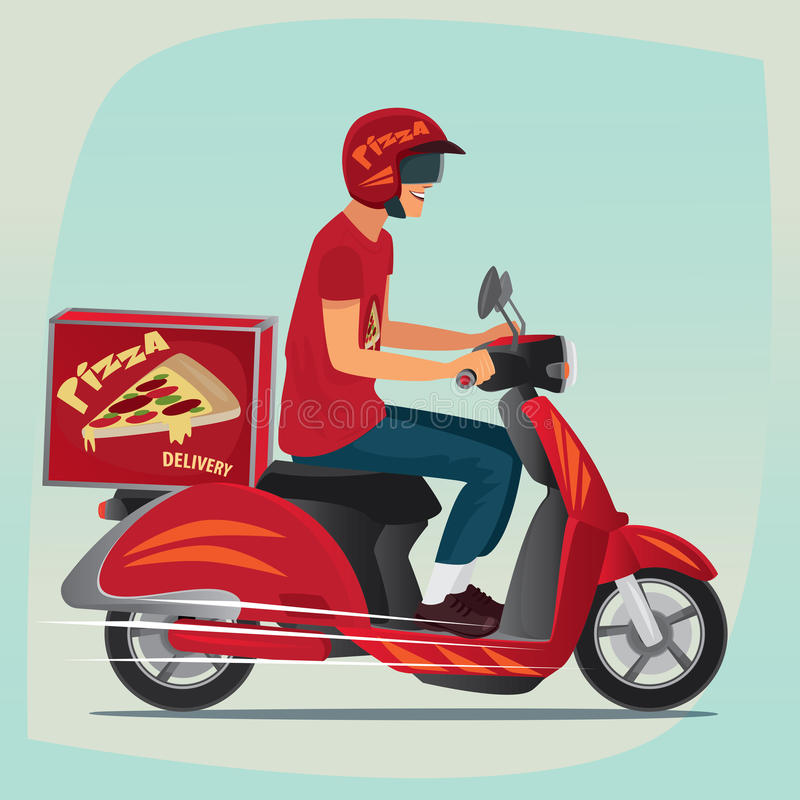 Young pizza courier riding on scooter vector illustration