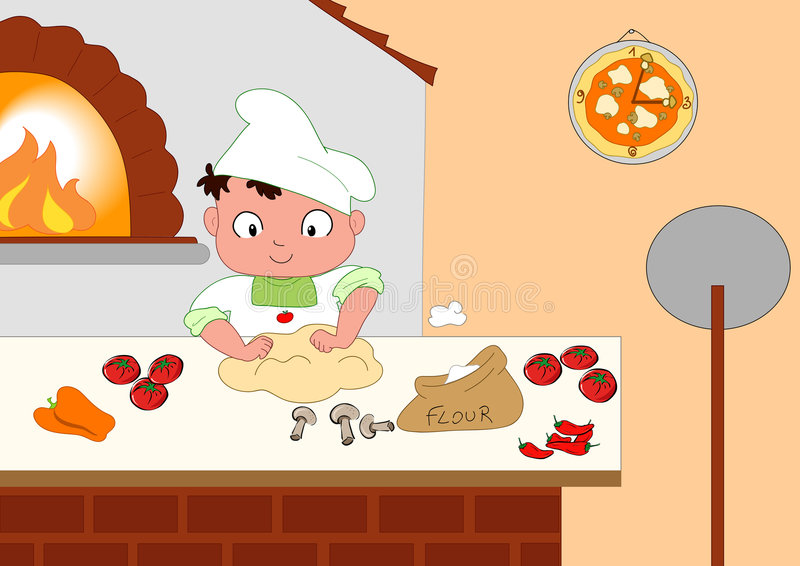 Young pizza maker. Cute young pizza maker in his kitchen. Vector illustration vector illustration