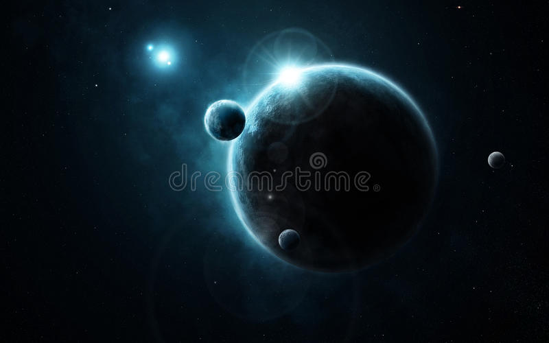 Young Planet System In Far Deep Space Stock Images