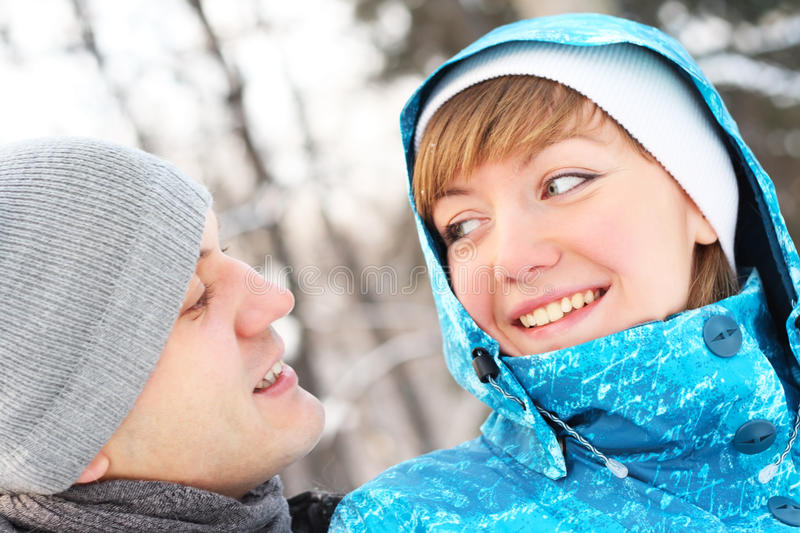 Download Young Playful Couple Has A Fun. Winter Stock Photo - Image: 18274816
