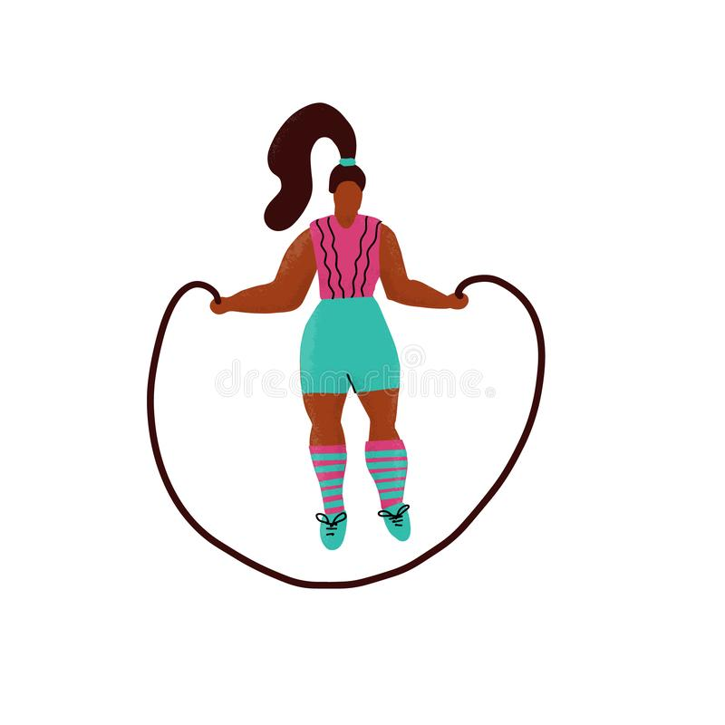 Young plus size woman jump with skipping rope. Woman in sport clothes cartoon character. Fitness exercise with jumping rope hand stock illustration
