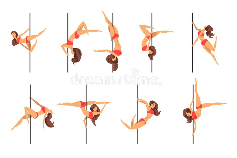 Young pole dance women set, beautiful pole dancers showing some tricks vector Illustrations on a white background stock illustration