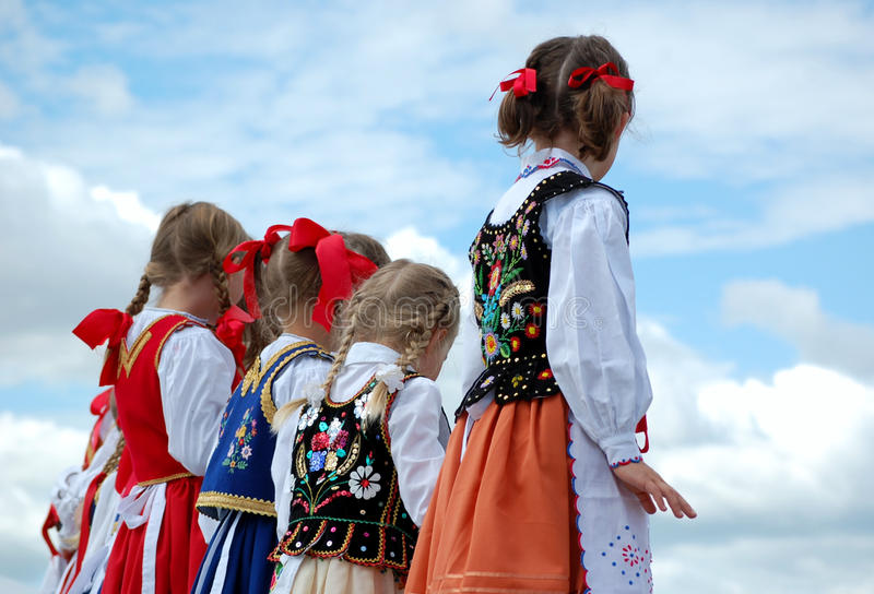 Young Polish Dancers. Performing at Edmonton's Heritage Days stock image
