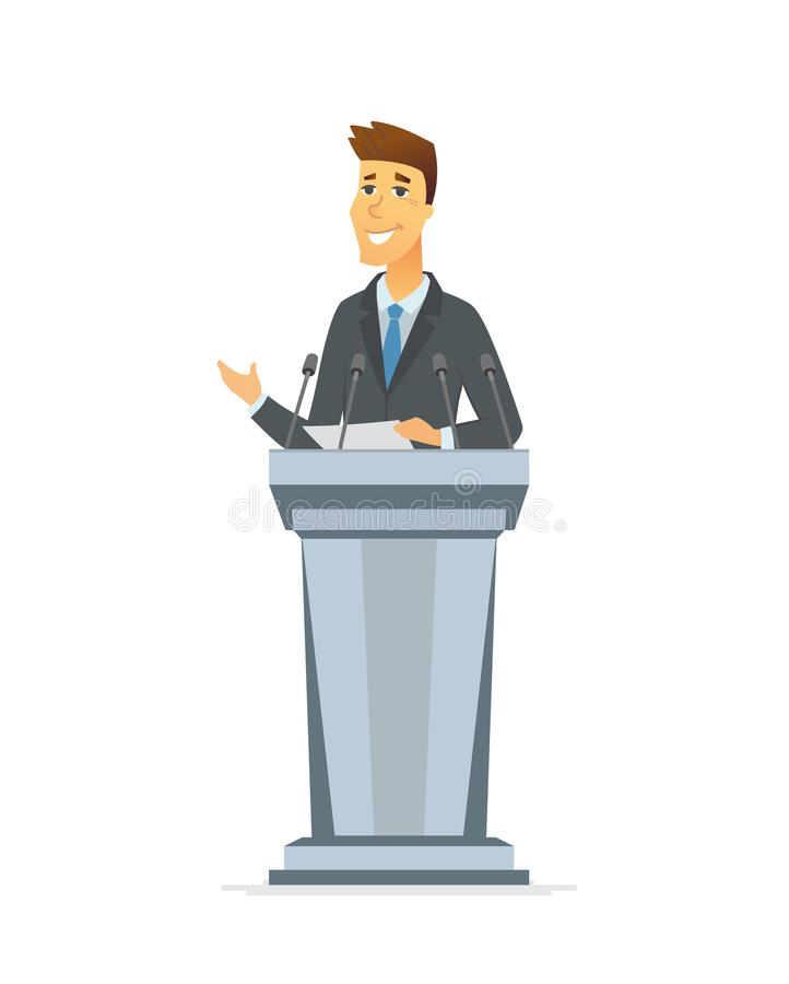Young politician - cartoon people character isolated illustration vector illustration