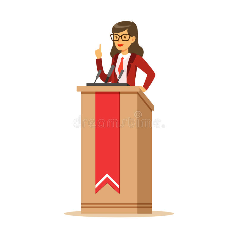 Young politician woman standing behind rostrum and giving a speech, public speaker character vector Illustration royalty free illustration