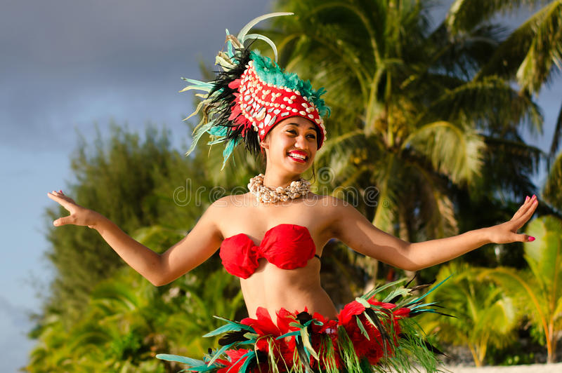 Young Polynesian Pacific Island Tahitian Woman Dancer royalty free stock images