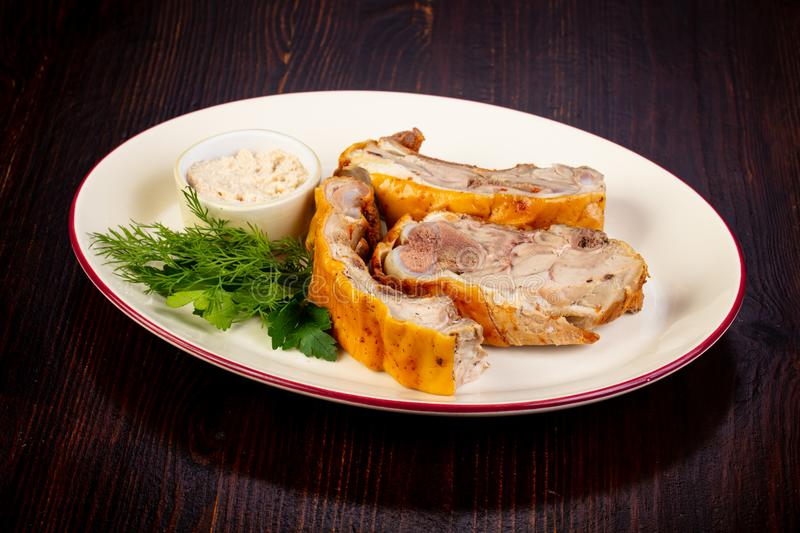 Young pork meat. With sauce royalty free stock images