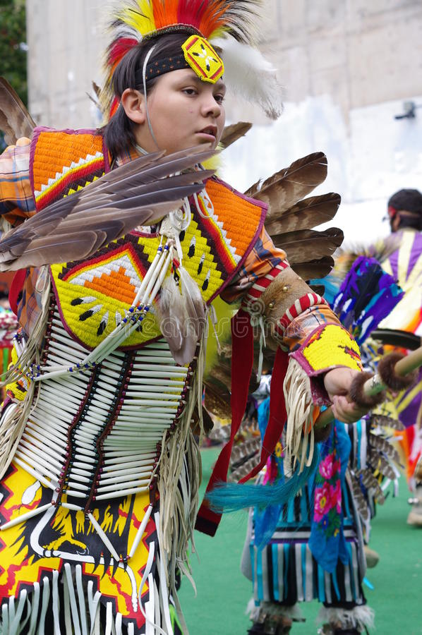 Young Pow-wow dancer of the plains tribes of Canada stock image