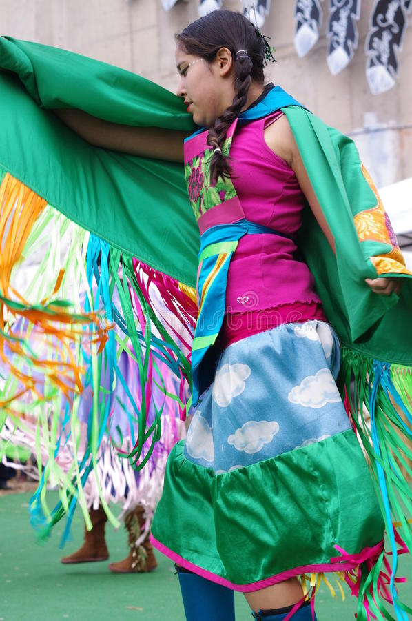 A young Pow-wow dancer of the plains tribes of Canada royalty free stock image