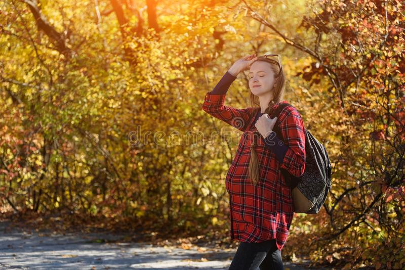Young pregnant woman in the autumn forest. With closed eyes, enjoys nature. Sunny day stock images