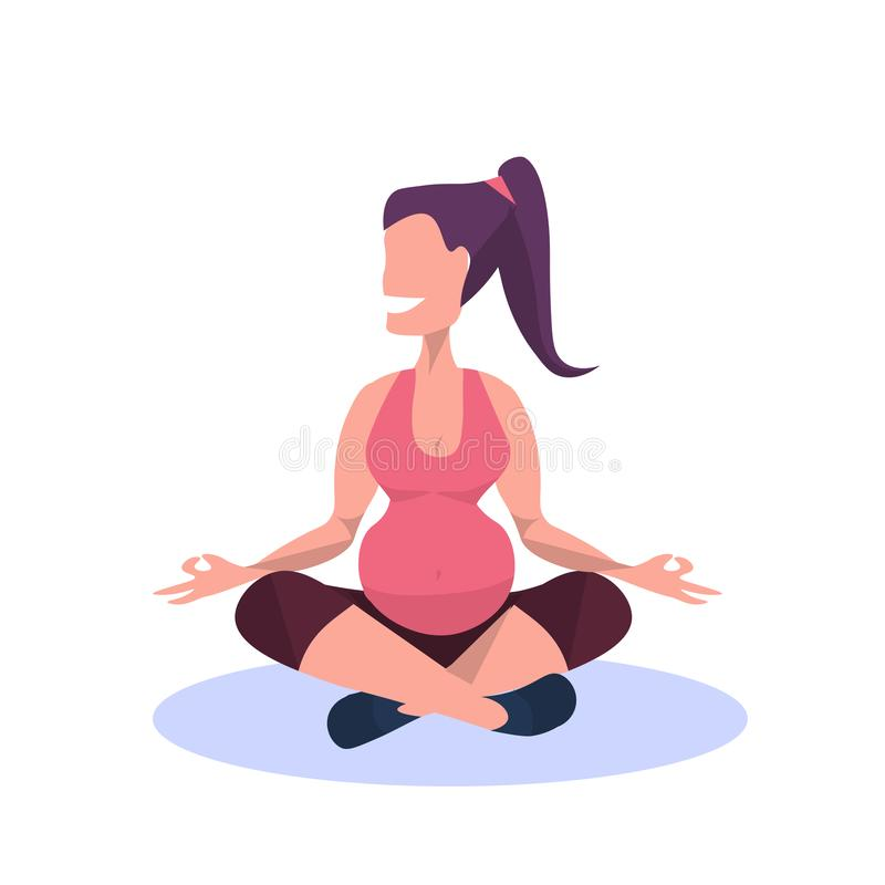Young pregnant woman practicing yoga happy girl sitting lotus pose meditating pregnancy fitness healthy lifestyle vector illustration
