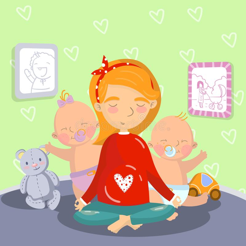 Young pregnant woman relaxing in yoga lotus position with her litle kids, mom yoga vector illustration, cartoon style. Colorful design element for poster or vector illustration