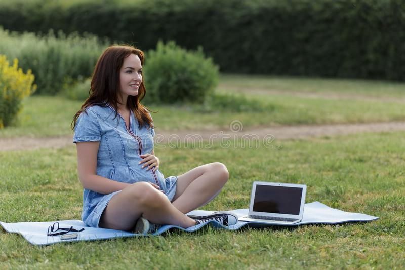 Young pregnant woman working in the park using her laptop stock image