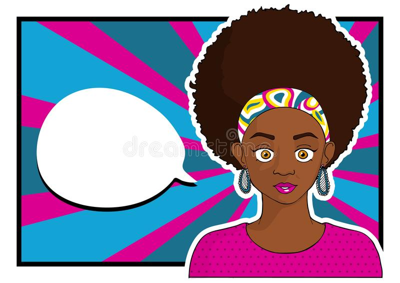 Young pretty black girl woman in pop art style with empty speech bubble. Vector illustration stock illustration