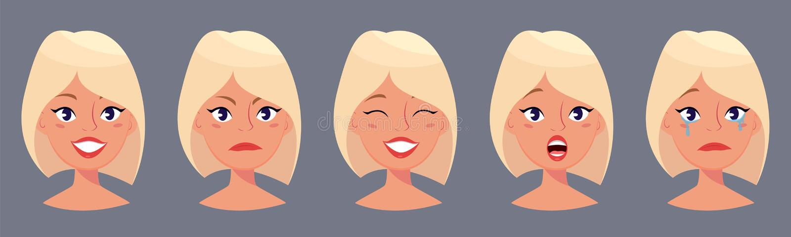 Young pretty blond woman, cute faces with different emotions. Cartoon beautiful girl. Avatar business woman. Vector illustration royalty free illustration