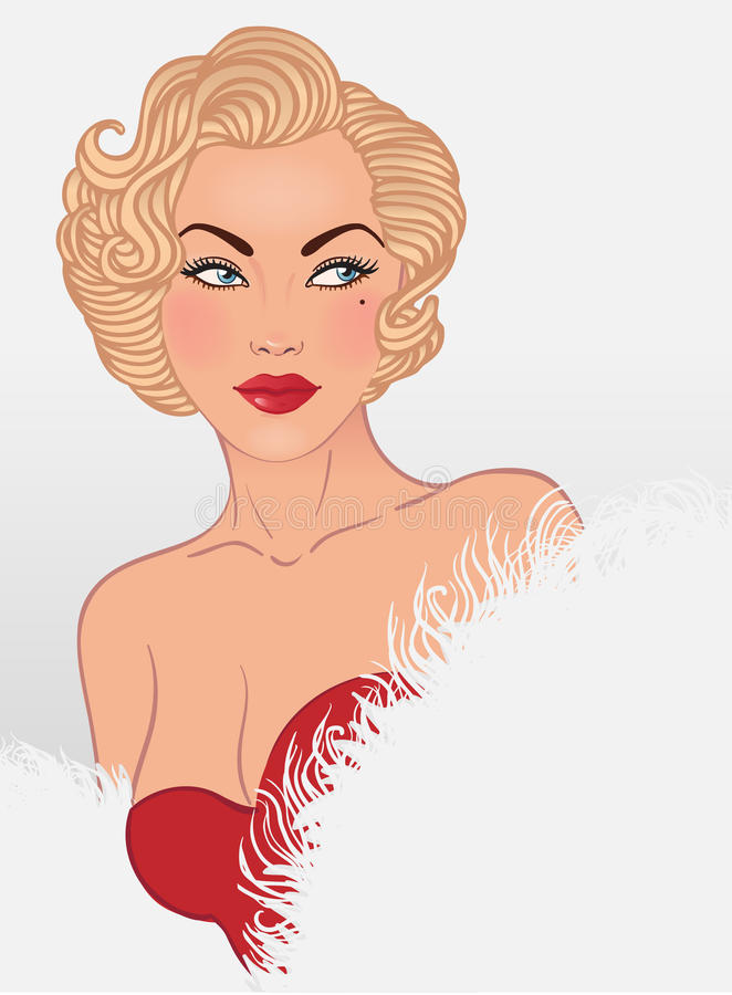 Download Young Pretty Blonde Woman In 1950-s Style Stock Vector - Image: 24018591