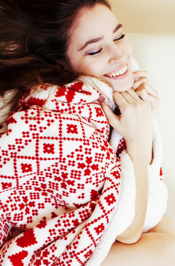 Download Young Pretty Brunette Girl In Christmas Ornament Blanket Getting Stock Image - Image: 83723335