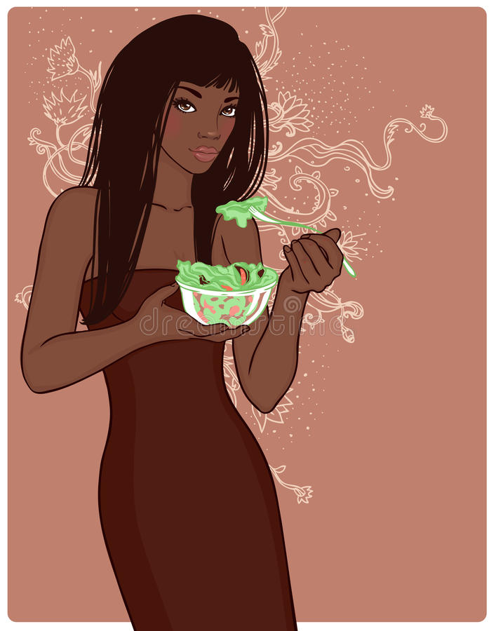 Young pretty brunette holding bowl of salad agains stock illustration