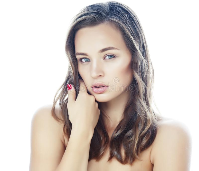 Young pretty brunette real woman close up isolated on white background. Fancy fashion makeup, natural look spa. Young pretty brunette real woman closeup isolated royalty free stock photo