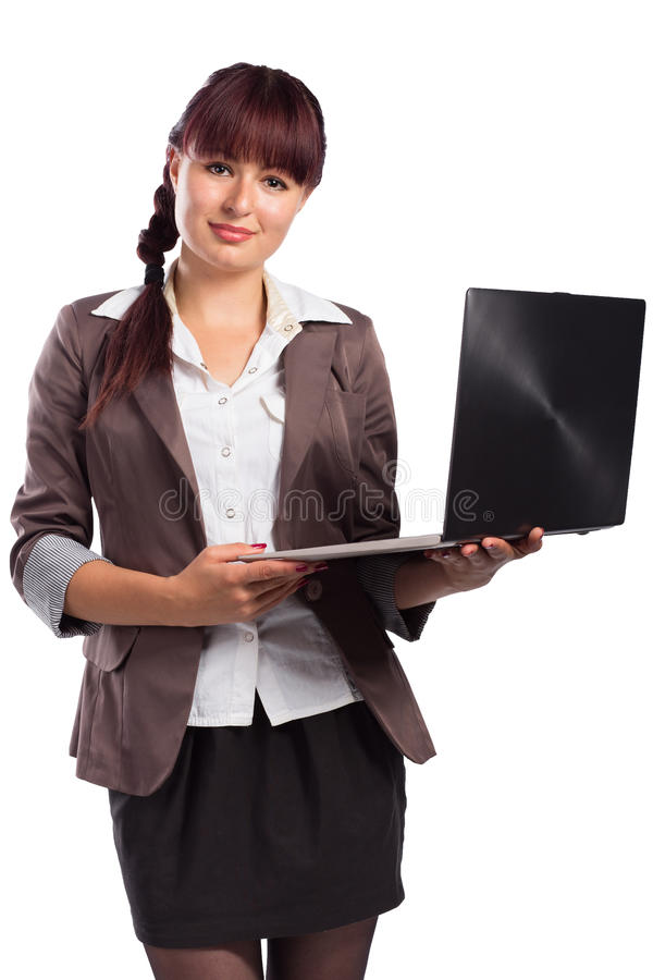 Young Pretty Business Woman With Laptop isolated on white. Background royalty free stock photo