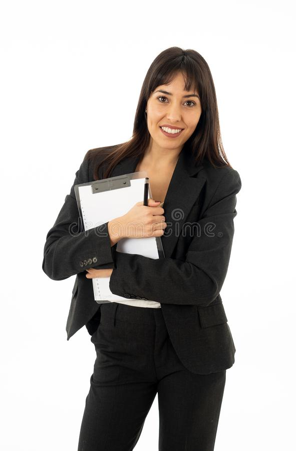 Portrait of a young beautiful and confident business woman o coach. royalty free stock image