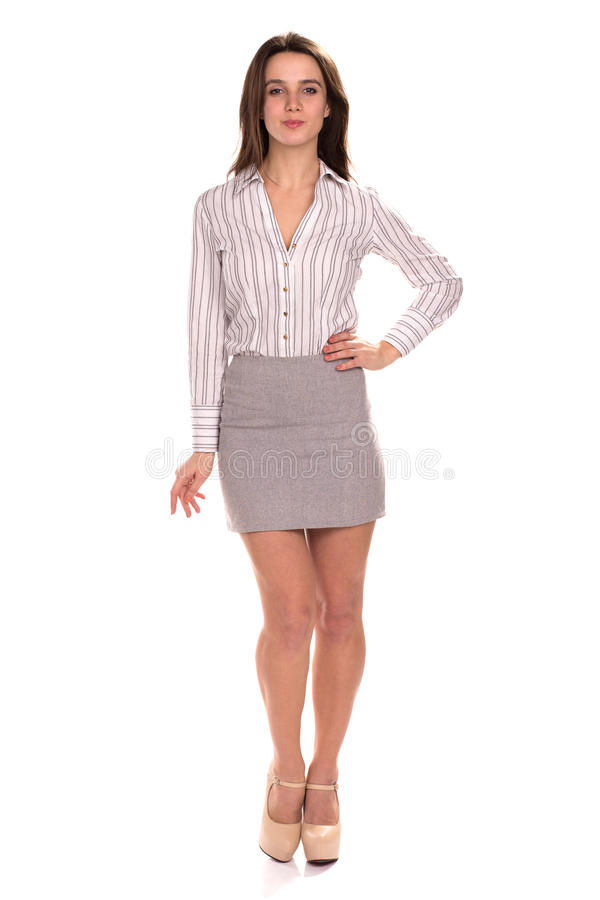 Young pretty businesswoman isolated. Full height portrait royalty free stock image