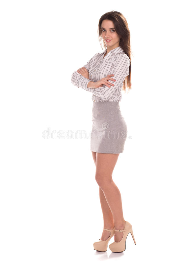 Young pretty businesswoman isolated. Full height portrait stock photos