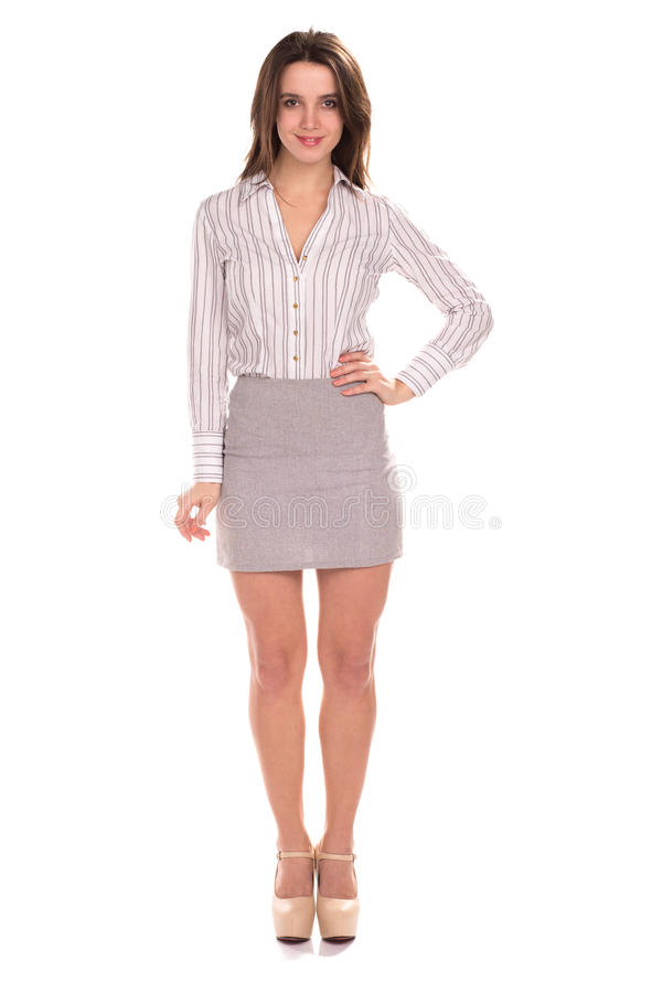 Young pretty businesswoman isolated. Full height portrait royalty free stock images