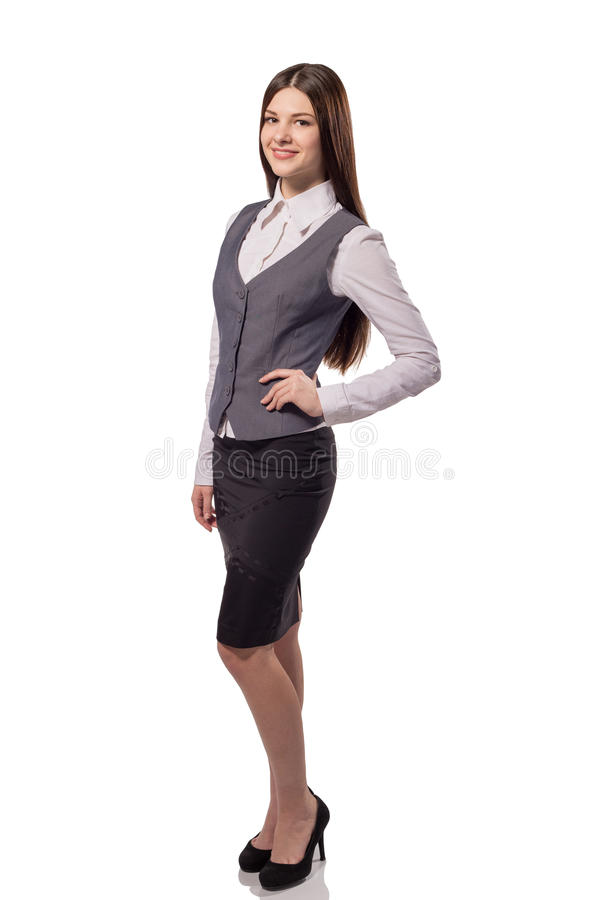 Young pretty businesswoman isolated. Full height portrait. Young pretty businesswoman isolated on white background. Full height portrait stock photography