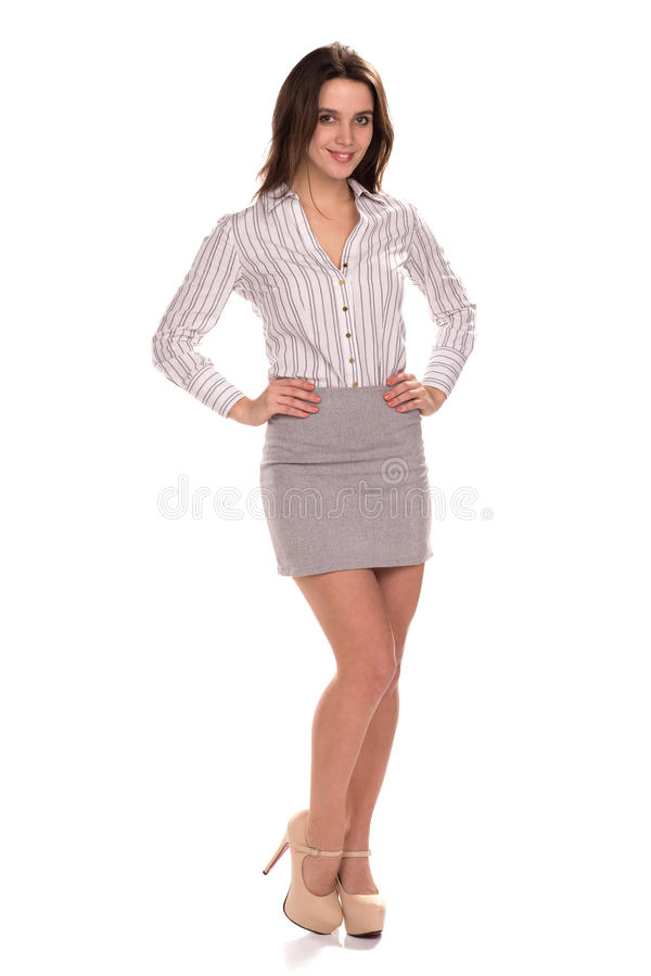 Young pretty businesswoman isolated. Full height portrait royalty free stock photography