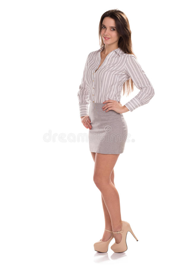 Young pretty businesswoman isolated. Full height portrait royalty free stock photos