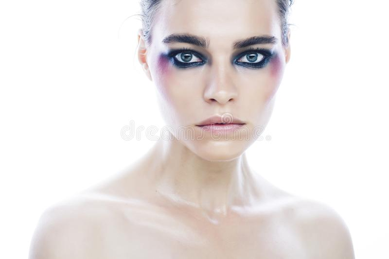 Young pretty caucasian girl with fashion style makeup bright colorful eyes isolated on white background, new glamour. Trends close up royalty free stock photography