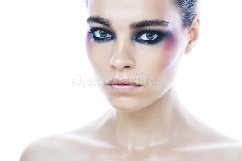 Young pretty caucasian girl with fashion style makeup bright colorful eyes isolated on white background, new glamour. Trends close up royalty free stock photos