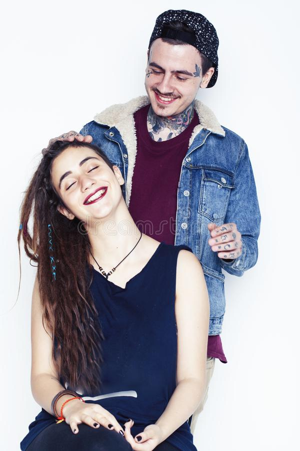 Young pretty couple together, lifestyle people concept, boyfriend and girlfriend tattoo royalty free stock photography