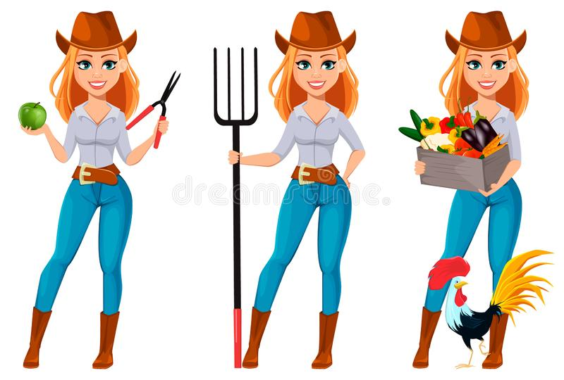 Young pretty farmer woman in cowboy hat. Cheerful gardener woman cartoon character holding secateurs and apple, holding pitchfork and holding vegetables stock illustration