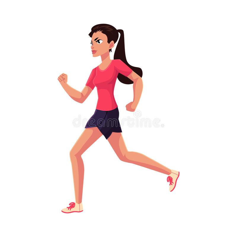 Young and pretty female runner, sprinter, jogger. Cartoon vector illustration isolated on white background. Woman, girl running, sprinter, track and field vector illustration