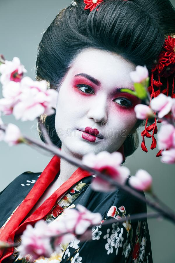 Young pretty geisha in black kimono among sakura, asian ethno closeup royalty free stock images