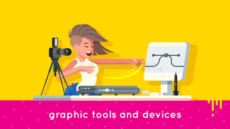 Pretty girl designer demonstrates professional digital graphic tools such as camera, scanner, stylus, pen, touchscreen royalty free illustration