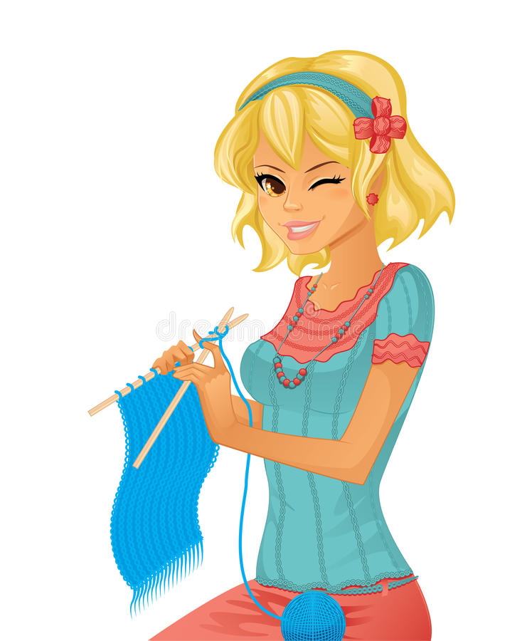 Young pretty girl knitting stock illustration