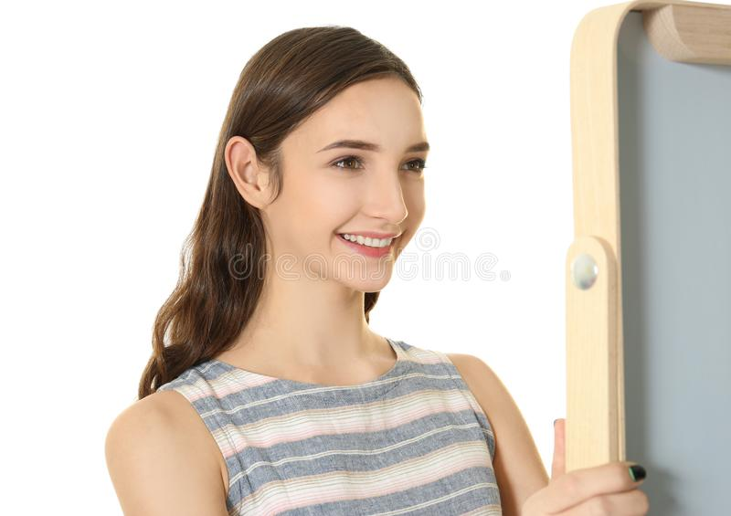 looking in mirror. Beautiful Mirror Download Young Pretty Girl Looking In Mirror Stock Image  Of  Natural Hand On