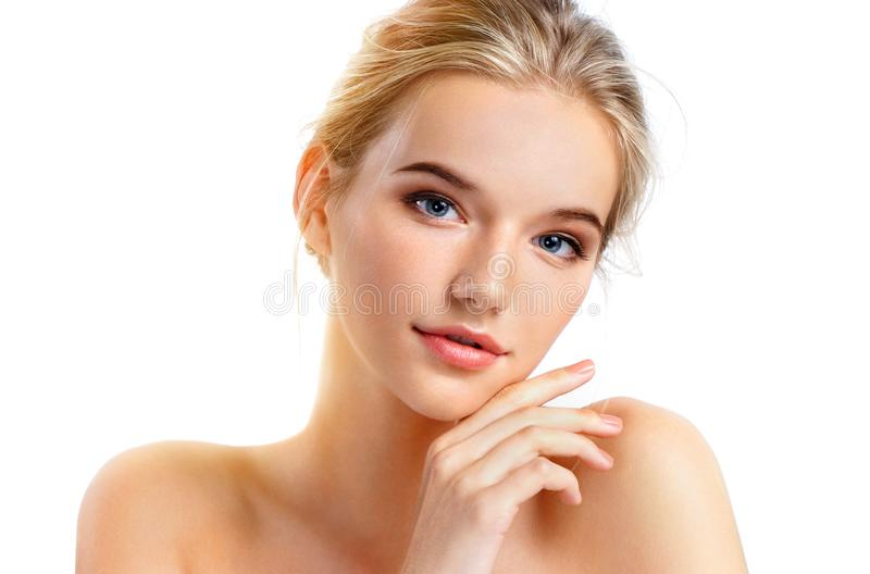 Young pretty girl with naturarl makeup royalty free stock photo